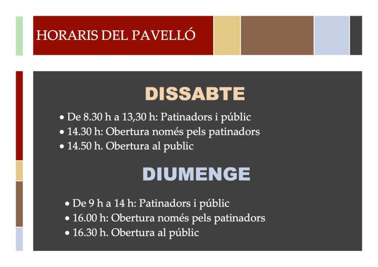 HORARIS DEL PAVELLÓ